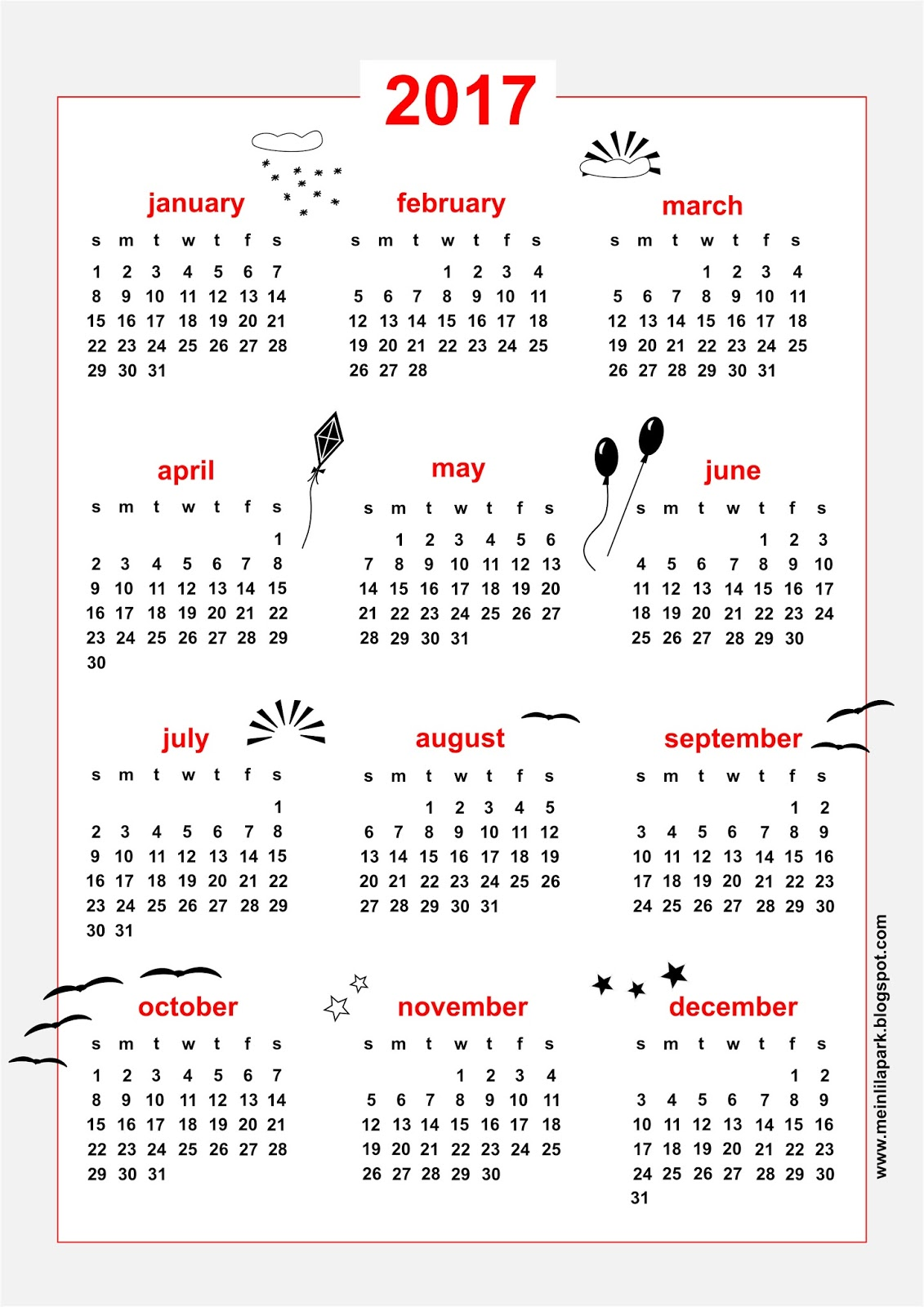 free printable 2017 calendar - sky themed