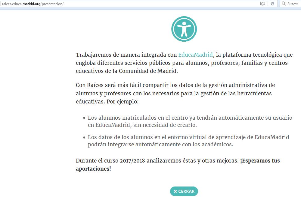 Raíces: programa gestión educativa Madrid