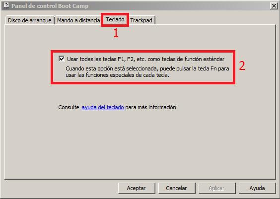 Teclas de función teclado Mac