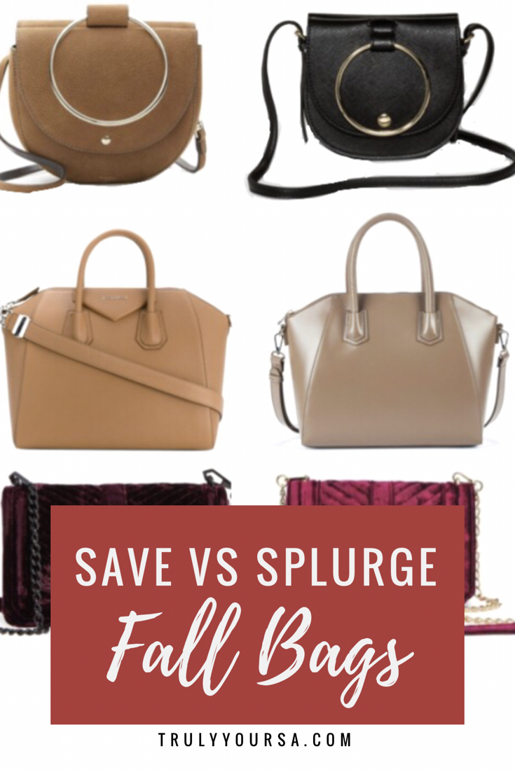 It's been so long since I've shared my Save vs Splurge finds with you all. I love rounding up fabulous pieces that can fit anybody's budget because your style shouldn't have to suffer because of your bank account. Today's finds are 3 bags that would be perfect for fall. Whether you're looking for a tote to carry your life around, a small crossbody for weekend excursions, or something a little more chic, I've got a bag for you at a great price!
