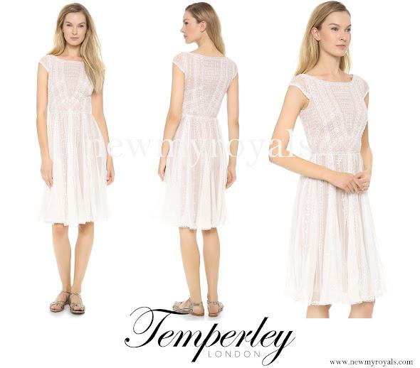 Queen Mathilde wore TEMPERLEY LONDON White Christa Dress