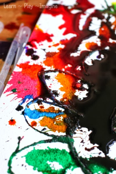 Exploring watercolors, salt, and glue - open ended process art for kids