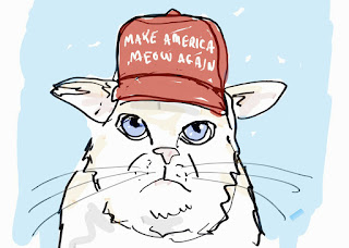 "cat wearing a ""make America meow again"" hat like the ""make America great again"" hats worn by Donald Trump"