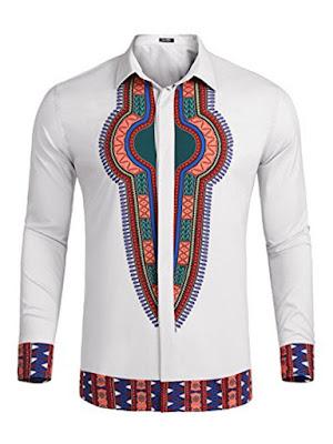 Ericdress Dashiki Lapel African Print Long Sleeve Men's T-shirt