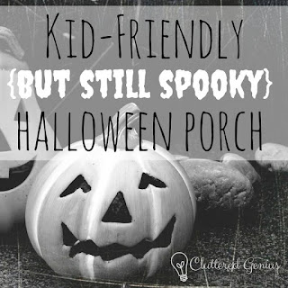 Blog With Friends, Tricks and Treats | Kid Friendly (But Still Spooky) Halloween Porch by Lydia of Cluttered Genius | shared on www.BakingInATornado.com | #Halloween