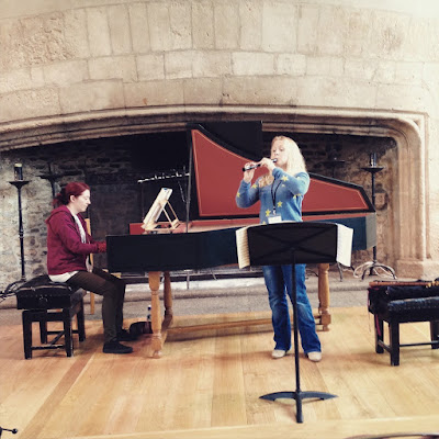 Jill Kemp rehearsing at Dartington with harpsichordist Claire Williams