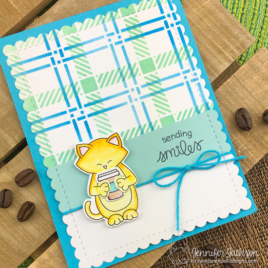 2018 Fall/Winter Coffee Lovers Blog Hop! Plaid Coffee Card by Jennifer Jackson | Sending Hugs Stamp Set and Plaid Stencil Set by Newton's Nook Designs #newtonsnook #handmade