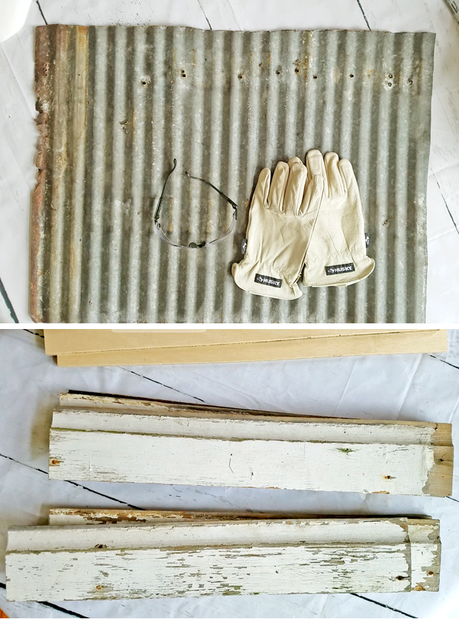 materials for wall art with Husky water resistant leather gloves and safety glasses to cut metal