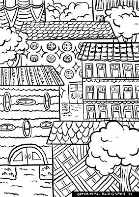 A coloring page of buildings / Värityskuva rakennuksista