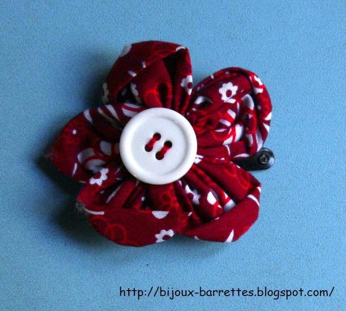 Bijoux Et Barrettes Barrette Fleur Tissu Rouge A Motif Fleuri