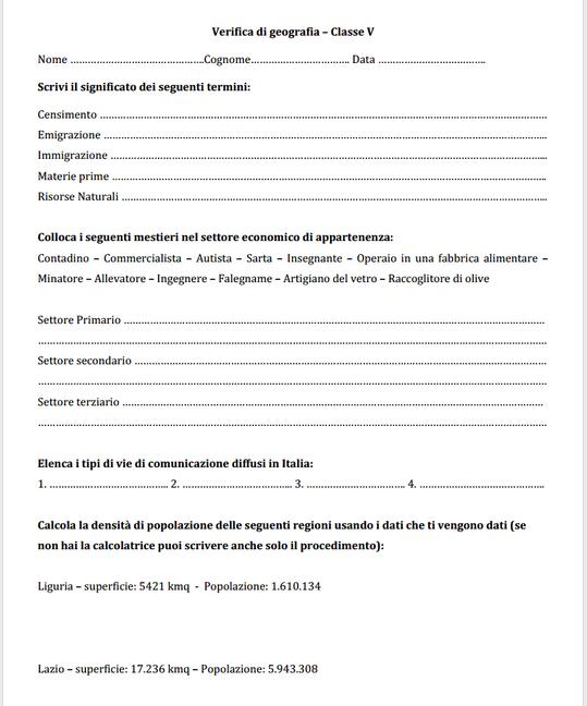 Guamod 236 Scuola Verifica Di Geografia Classe V