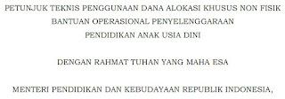 "BOP Adalah Bantuan Operasional Penyelenggaraan PAUD Pencapaian 100 tahun Indonesia merdeka akan sangat ditentukan oleh bagaimana kita memanfaatkan peluang bonus demografi dengan menyiapkan tenaga kerja yang berlimpah. Jumlah anak usia 3-6 tahun pada tahun 2016 yang berjumlah 18,95 juta orang, pada tahun 2045 usia mereka akan mencapai 32-35 tahun (Pro yeksi Berdasarkan Hczsil SF 2010). Usia ini merupakan usia angkatan kerja yang produktif. Angkatan kerja ini jika dipersiapkan dengan baik sejak dini akan menjadi modal pembangunan, tetapi sebaliknya jika tidak dipersiapkan dengan baik justru kelak akan menjadi beban pembangunan.  Penyiapan manusia berkualitas sejak dini sejalan dengan program prioritas yang diamanatkan Nawa Cita, khususnya Nawa Cita ke-8 yaitu ""melakukan revolusi karakter bangsa"", Nawa Cita ke-5 ""meningkatkan kualitas hidup manusia Indonesia"", dan Nawa Cita ke- 6 ""meningkatkan produktivitas rakyat dan daya saing di pasar internasional"".  Keberlanjutan suatu bangsa ditentukan oleh kesiapan dan kesanggupan generasi penerusnya, dan itu hams dipersiapkan sejak anak masih berusia dini. Berbagai hasil penelitian menunjukkan bahwa pendidikan anak usia dini (PAUD) merupakan pendidikan yang paling mendasar, dan PAUD yang berkualitas akan sangat berkontribusi terhadap kualitas  pendidikan pada jenjang selanjutnya. Hal ini sejalan dengan rencana pembangunan jangka menengah nasional (RPJMN) 2015-2019 yang menyatakan bahwa peningkatan akses dan kualitas PAUD secara holistik dan integratif merupakan pondasi terwujudnya pendidikan dasar 12 tahun yang berkualitas.  Pelaksanaan program pendidikari anak usia dini dengan melibatkan partisipasi semua komponen serta mengoptimalkan potensi pusat dan daerah telah memberikan dampak positif bagi penyelenggaraan pendidikan anak usia dini. Hal ini ditunjukkan dengan perkembangan jumlah penyelenggara pendidikan anak usia dini yang telah mencapai 192.616 satuan pendidikan, hampir 99% diantaranya diselenggarakan oleh masyarakat. An"