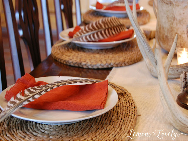 Outdoorsy Table Setting more photos on www.lemonstolovelys.blogspot.com