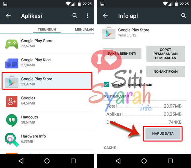 mengatasi error 492 playstore