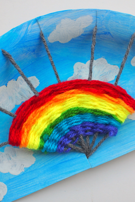 Fun Rainbow Paper Plate Weaving Art And Craft Project For Kids
