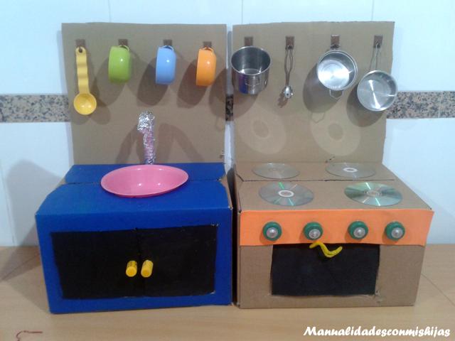 Cocina de cart n reciclado mam puedo hacerlo for Cajas de carton infantiles