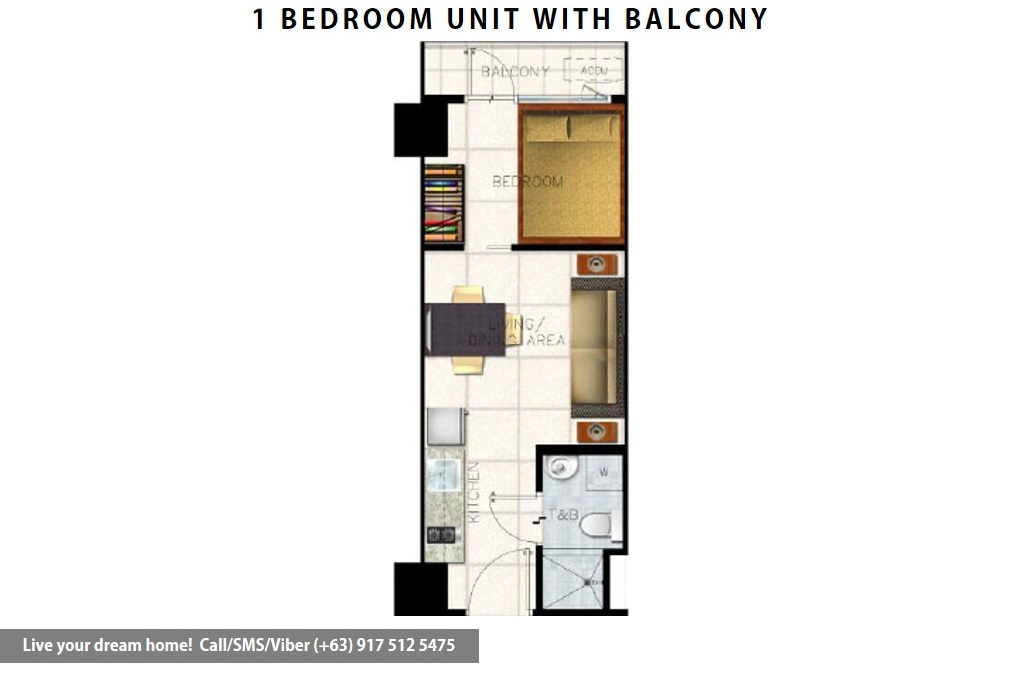 Floor Plan of SMDC S Residences - 1 Bedroom With Balcony | Condominium for Sale SM Mall of Asia Pasay