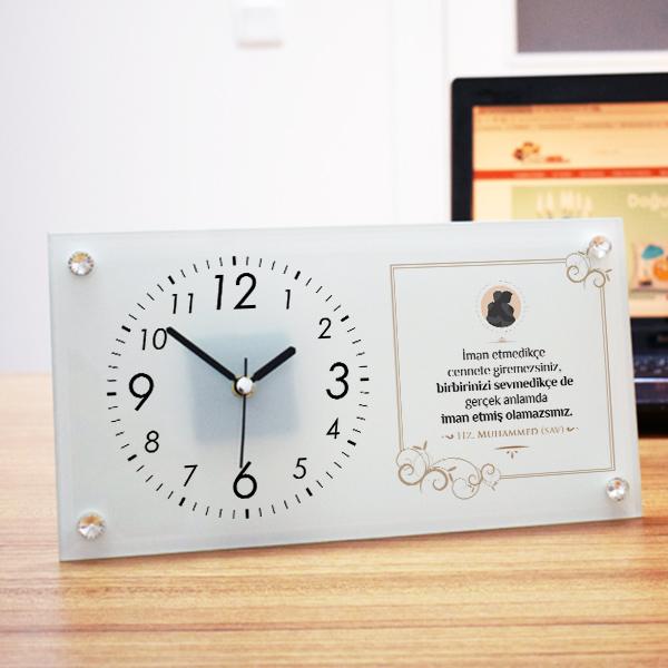 Hadisi Şerif Yazılı Cam Masa Saati