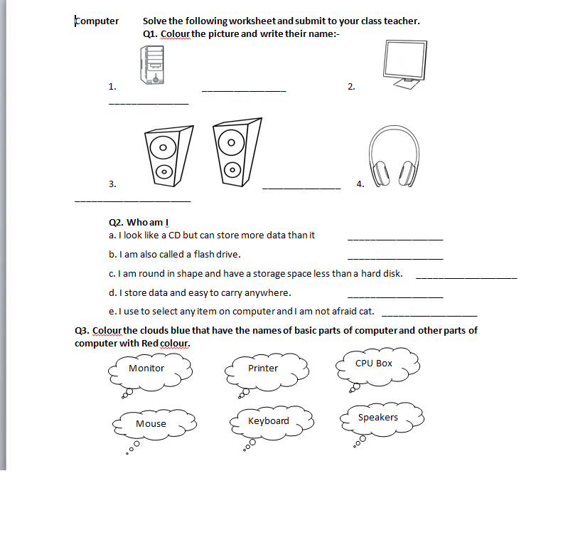 Class 1 to 8 Worksheets: May 2018