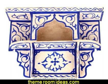 Moroccan Wall Mounted Hand Painted Shelf, Majorelle Blue on White
