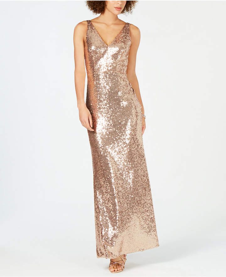 Nightway Petite V-Neck Sequined Gown