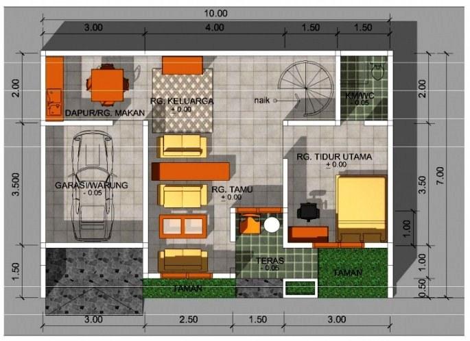 Contoh Denah Rumah Minimalis Ukuran 6x8 1 Lantai