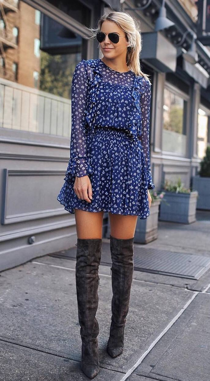 gorgeous fall outfit / printed dress and over knee boots