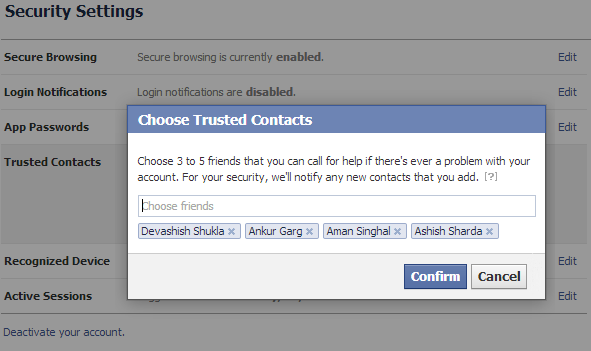choose trusted contacts in Facebook
