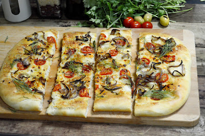 Focaccia with Caramelized onion and cherry tomatoes