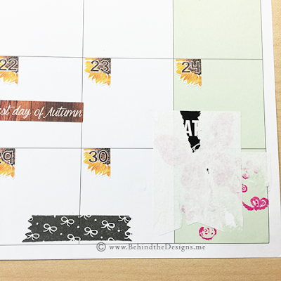 Close Up of Corner in Happy Planner Needing Sticker and Ink Stamp Removal | Behind the Designs DIY Craft and Planning Blog