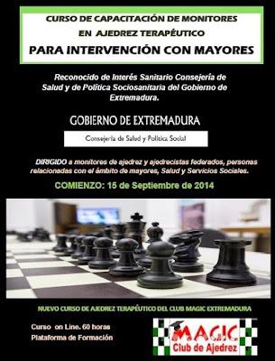 Cartel del curso online de capacitación de monitores en ajedrez terapéutico