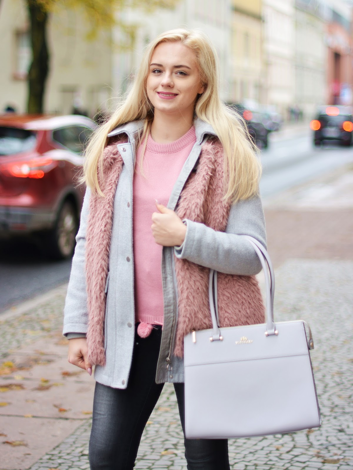 szary różowy stylizacja jesień 2017