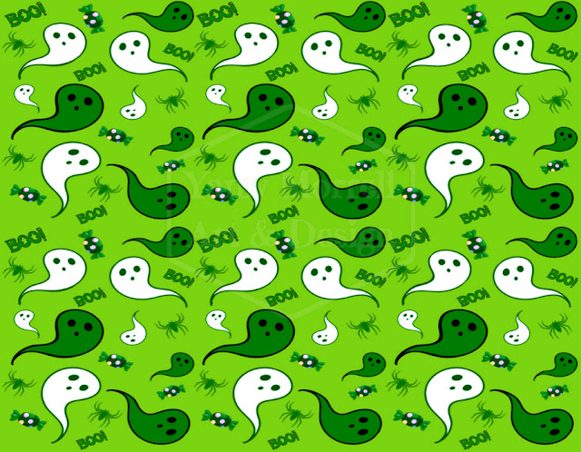 Halloween-green-ghost-pattern-design-by-yamy-morrell