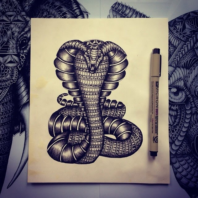 04-Cobra-Snake-Faye-Halliday-Animals-with-Zentangle-Detailing-www-designstack-co