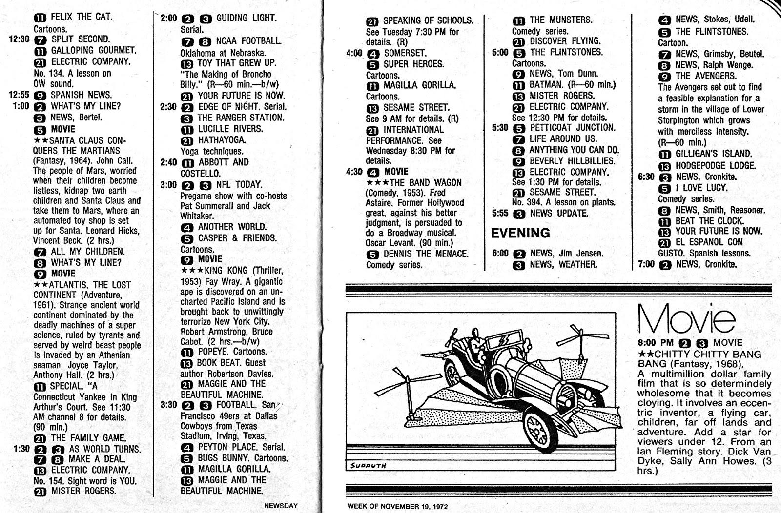 don't parade in my rain: Newsday TV Book, November 19-25,1972