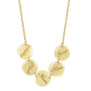 gold family disc necklace