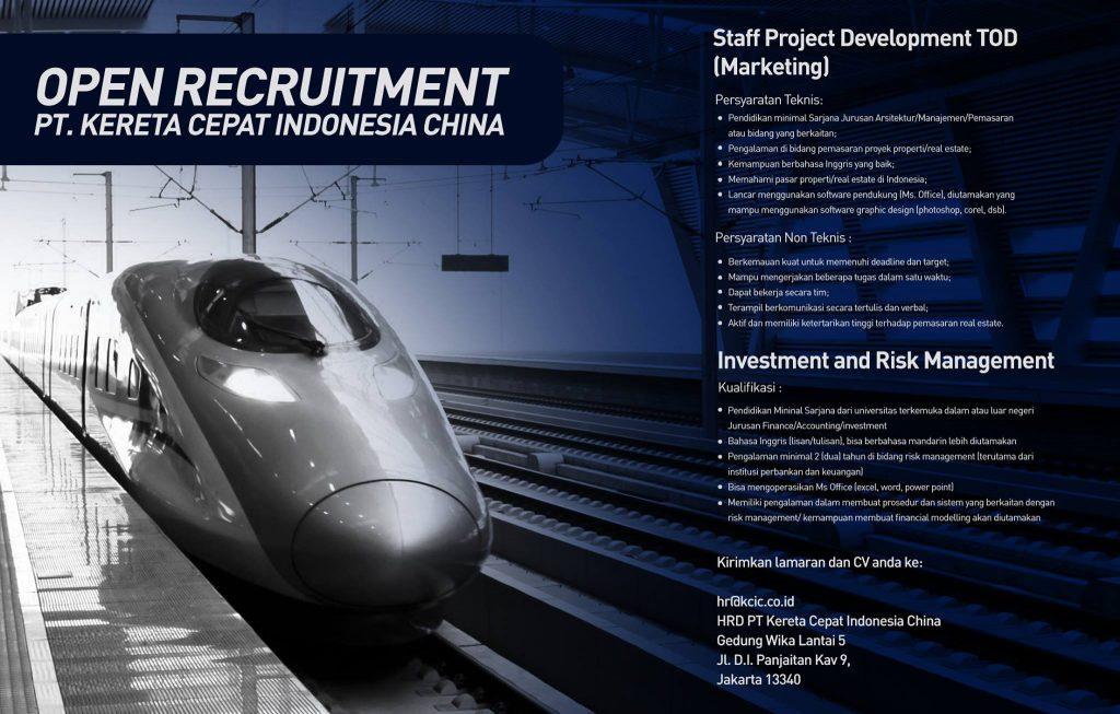 Lowongan Kerja PT Kereta Cepat Indonesia - China Tahun 2017