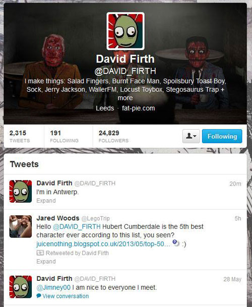 David Firth retweeted me once