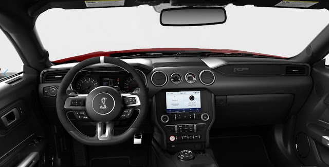 2020 Ford Mustang Shelby GT500 steering wheel, gear shifter, dashboard, and infotainment system