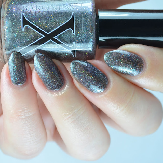 grey holographic nail polish