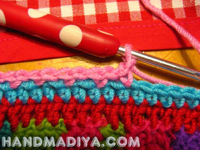 Crochet wavy bright plaid tutorial