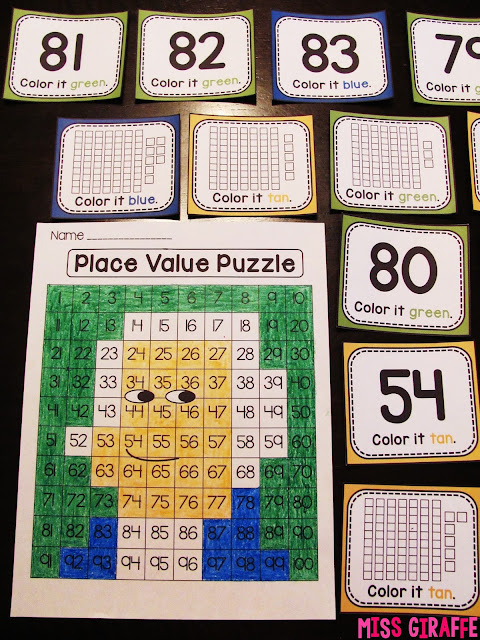 George Washington place value puzzle to practice numbers on the 120 chart and other fun Presidents' Day math and literacy activities