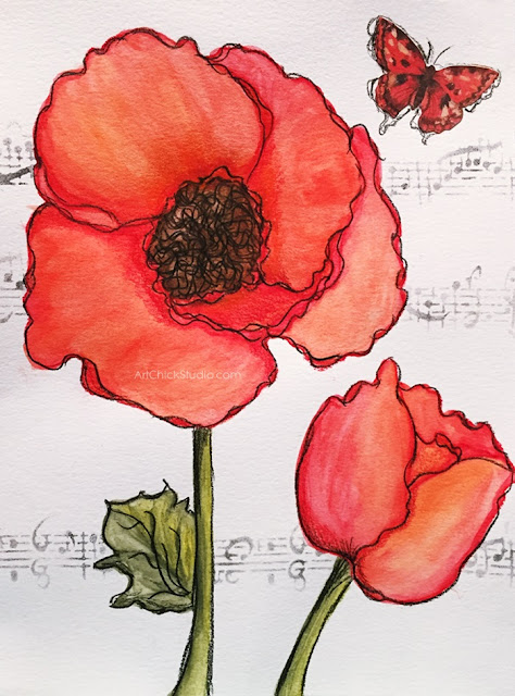 Red Poppies Mixed Media Painting