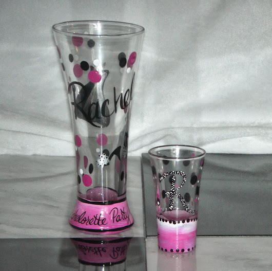 Personalized Hand Painted Shot and Beer Glasses make great Bachelorette Party Favors