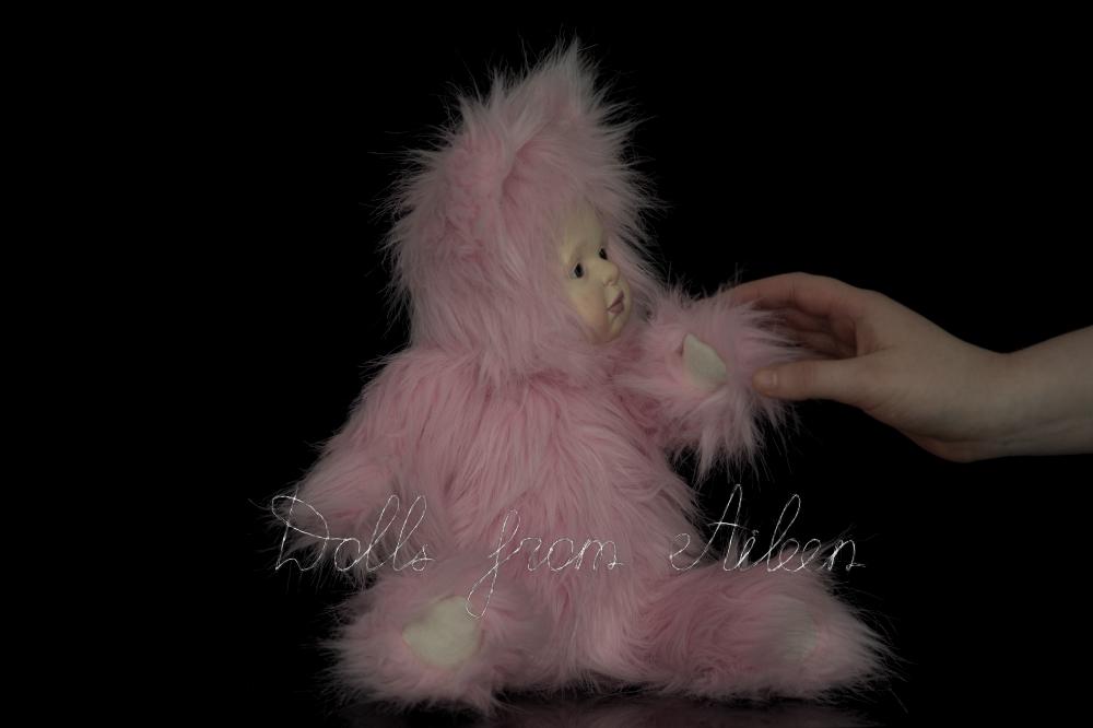 ooak artist kitten teddy doll with human hand