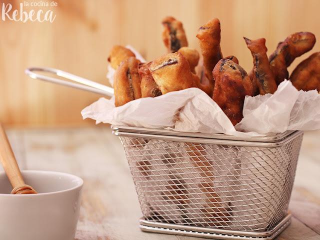 Berenjenas en tempura con miel