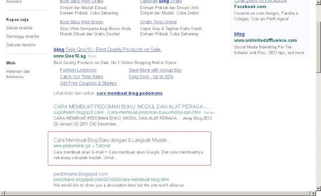 Yahoo SERP contoh deskripsi blog yang bagus