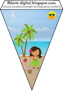 Banderines de Fiesta Hawaiana de Chicas  para imprimir gratis.