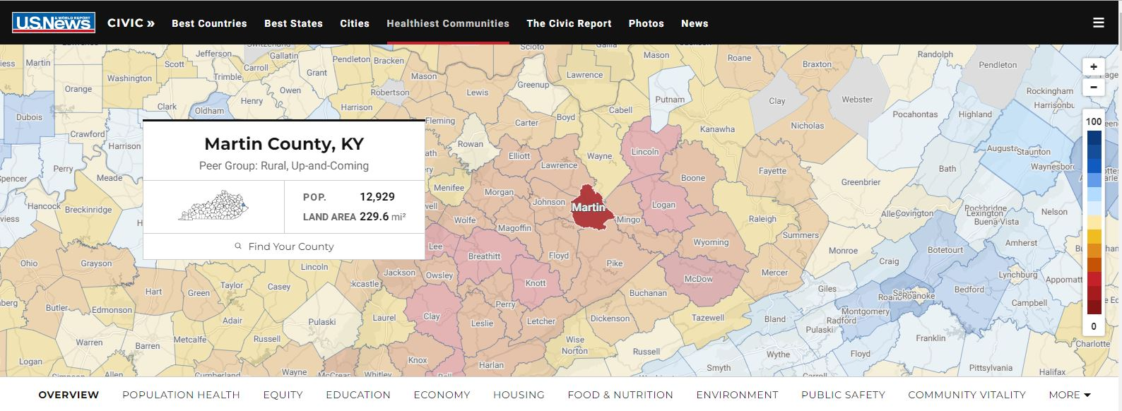 screenshot of interactive u s news and world report map showing data for each kentucky county click here to access the actual map