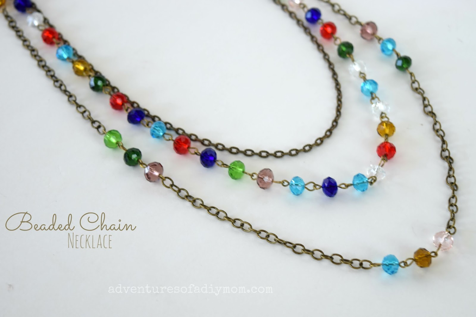 Easy Beaded Chain Multi-Strand Necklace - Adventures of a DIY Mom